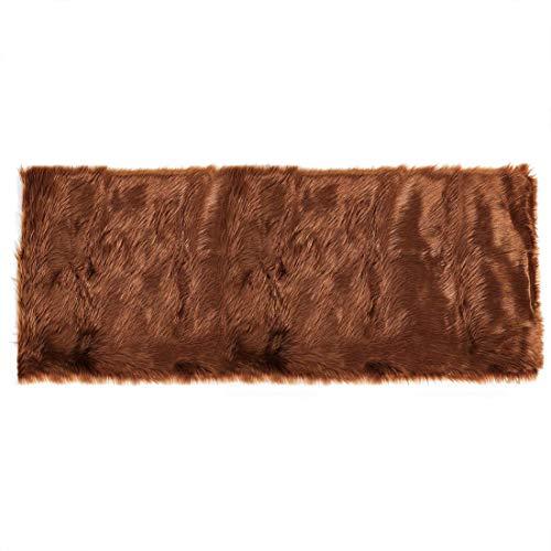 DyniLa Rug Intérieur epskin - Alfombra para dormitorio, sofá, salón, rectangular, lavable, 2 x 5 patas marrón