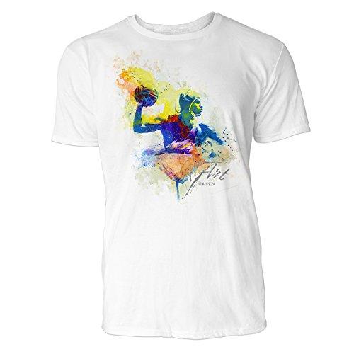 Wasserball Wurf Sinus Art ® Herren T Shirt ( Weiss ) Crewneck Tee with Frontartwork
