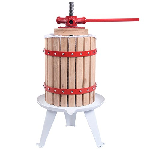 Useful Solid Wood Basket Fruit, Cider and wine Press Old Fashioned Cast Iron (1.6 Gallon)