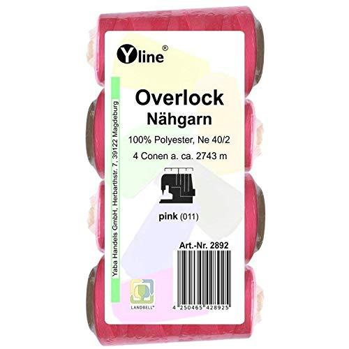 4 bobinas Overlock, 2743 m, NE 40/2, 100% poliéster, hilo para máquina de coser, color rosa, 2892