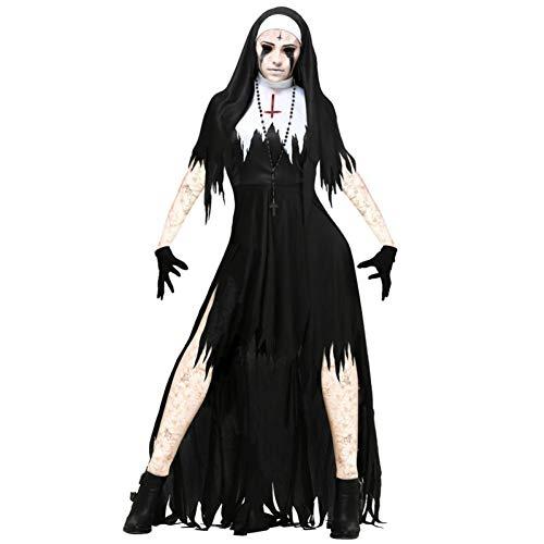 GBYAY Disfraz de Cosplay de Monja de Halloween Mujeres Negro Vestido de...
