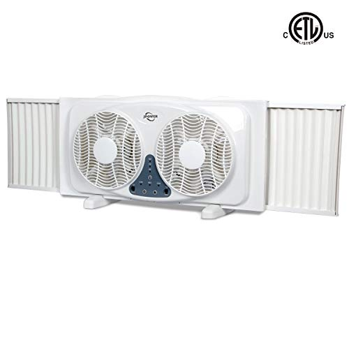 JPOWER 9-Inch Twin Window Fan,3-Speed Reversible Air Quiet Flow and Thermostat Control,ETL Safety Listed