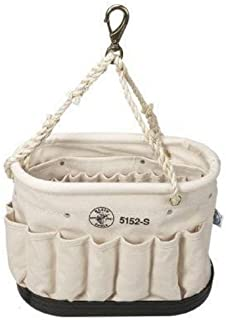 Klein Tools 5152S Oval Bucket Made of No. 6 Canvas with Sisal-Rope Hanging Handle, 26 Interior Pockets and 15 Exterior Pockets