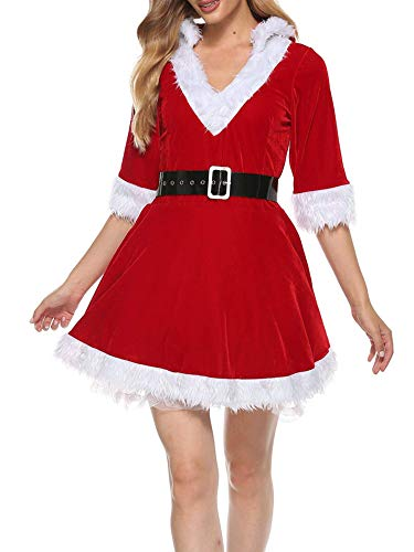 None Branded Disfraz de Santa Claus para mujer de manga larga para fiestas navideas