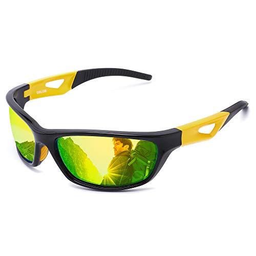OSLOB Occhiali da Sole polarizzati di Sport per Le Donne Gli Uomini in Bicicletta in Corso di Guida Protezione UV Occhiali st003 (Blk)