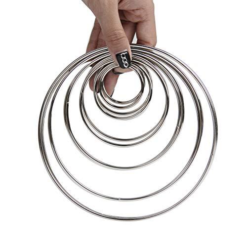 WOWOSS 12Pcs Anillos de Metal para Atrapasueños, 6 Tamaños Aros Macramé para Manualidades Atrapasueños Artesanio (38、50、75、100、130、150mm)