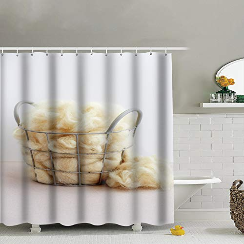 Beauty-Design Duschvorhang, Naturfaser, Schafe, Verschiedene Schafe, dekoratives Badezimmerzubehör, maschinenwaschbar, 183 x 183 cm