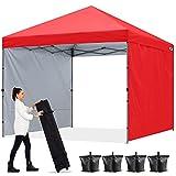 ABCCANOPY 1.8x1.8M Pavillon Outdoor Easy Pop-up-Überdachungszelt mit 2 Seitenwände,Rot