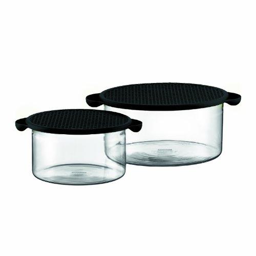 HOT POT SET: Conjunto de 2 taças com tampa de silicone, 1.0 l e 2.5 l