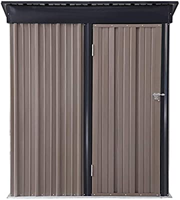 HYD-Parts Outdoor 5x3 FT Storage Shed Tool House Utility Metal Garden Tool Storage House with Sloped Metal Roof