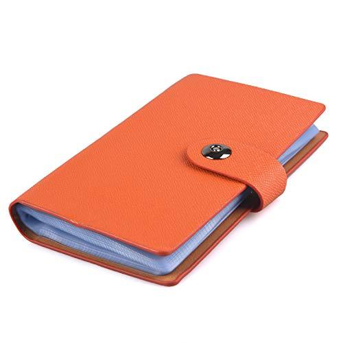 HOGAR AMO Libros de tarjetas de visita Cuero de PU Organizador para Tarjeta de Identificación, Tarjeta Bancaria, tarjeta de Autobús, Estuche duro Titular de 240 Tarjetas - Naranja