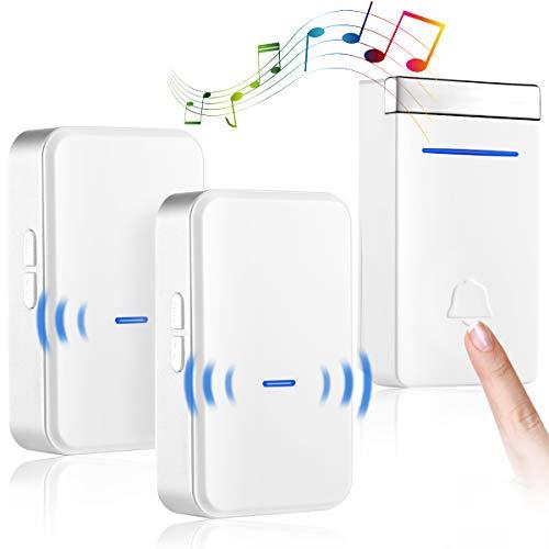 ワイヤレスチャイム 無線チャイム 電池不要 自家発電 玄関チャイム 防水 防塵 最大200mの無線範囲 45曲呼び出し音 4段階音量調節 音とLEDランプで呼び出し ワイヤレスベル 無線ドアチャイム 家庭/会社/病院・介護などに適用 日本語取説付属 IKU