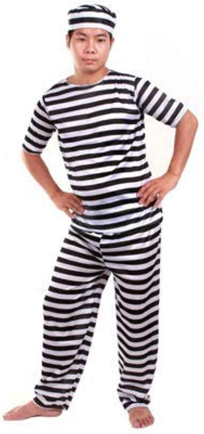 3piece set of prison uniform prisoner costume for men hat   clothes   pants (japan import)