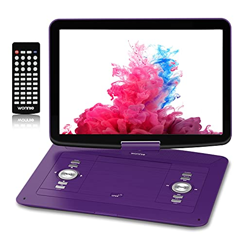 WONNIE ポータブルdvdプレーヤー 15.6インチ リージョンフリー 270°回転式スクリーン 5000mAhバッテリー内蔵 CPRM/USB対応 AV出入力 リモコン付き 日本語説明書 紫