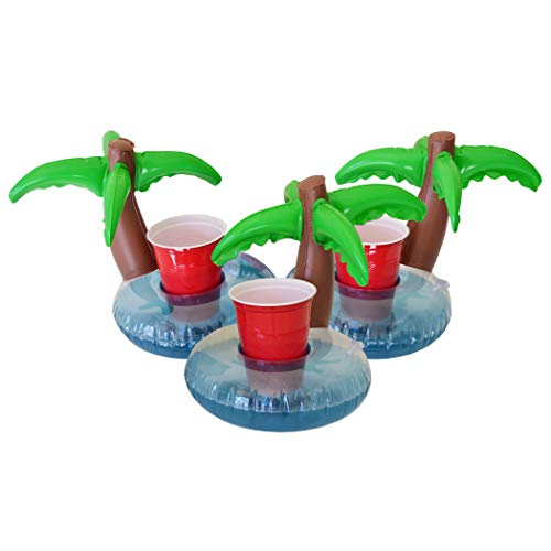 GoFloats Inflatable Palm Island Drink Holder - 3 Pack