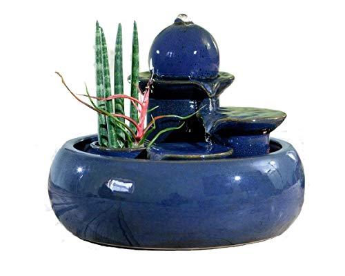 seliger Keramikbrunnen Zimmerbrunnen Trentino blau