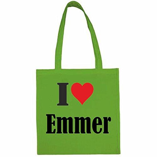 Tasche I Love Emmer Größe 38x42 Farbe Grün Druck Schwarz