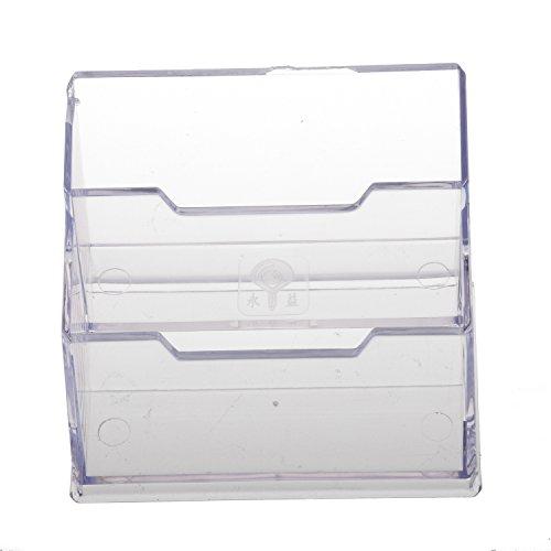 REFURBISHHOUSE Soporte para tarjetas de visita de escritorio con 2 compartimentos