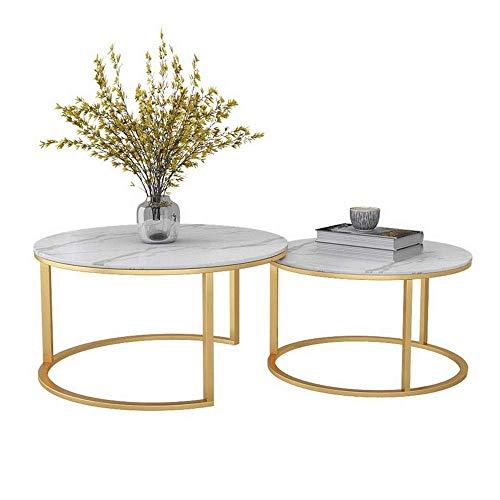 GAOLIM Moderne geometrische Nesting Couchtische , Beistelltisch für Wohnzimmer, 2er-Set, runde Marmortischplatte mit Goldener Basis (Farbe: Weiß)