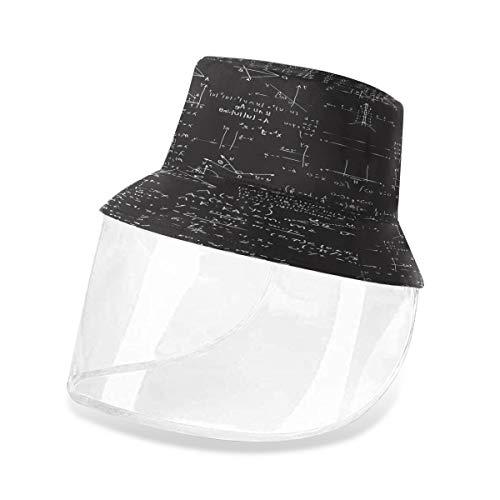 ALARGE Fischerhut mit geometrischen, mathematischen Formeln, Anti-Staub, Sonne, UV-Angelhüte, Kappe mit abnehmbarem Gesichtsschutz, Maske für Männer und Frauen im Freien Gr. 56, multi