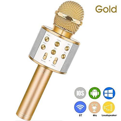KKmoon WS-858 Microfone portátil sem fio de karaokê Celular de mão Leitor de karaokê BT HIFI alto-falante Selfie 3 em 1 recarregável Li-bateria Karaokê KTV MIC Máquina