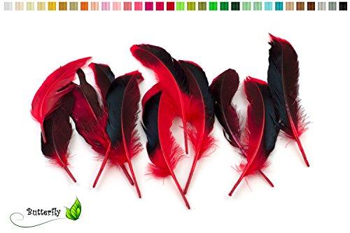 10 Entenfedern ca. 10-15cm (rot 250)//Echte Federn Ente Natur Deko Bastelfedern Dekofedern Duck