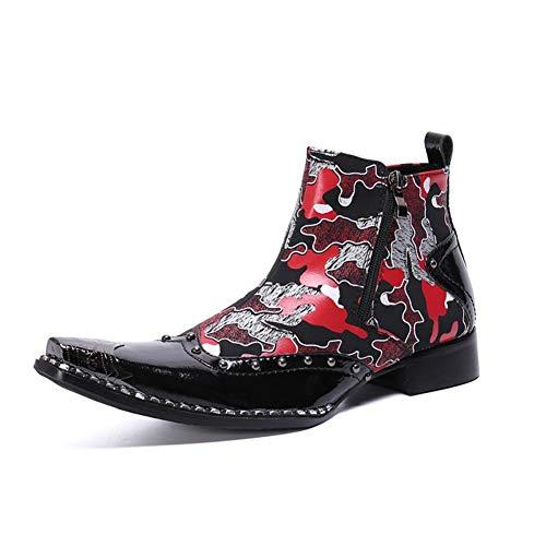 YOWAX Botas Vaqueras para Hombres Botines Punk Rock Botas de Cuero Negras Vestido de Metal Botas Chelsea con Punta en punta-BLACK-EU46UK12