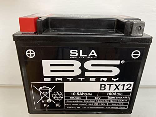 Batería para moto BS SLA BTX12 (YTX12-BS) – Lista para usar – 12 V 10 Ah – Dimensiones: 150 x 87 x 130 mm – Compatible con Aprilia Scarabeo Scooter 500 2009 – 2010
