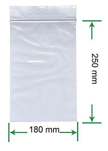 HeiZip 100 x Druckverschlussbeutel 180 x 250 mm, 90 mµ/MY (extra stark), Transparent, Unbedruckt, Wiederverschliessbar, Lebensmittelecht