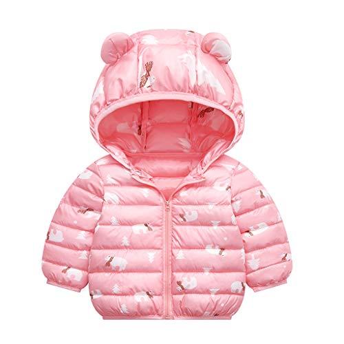 MiMiey Kinder Leichte Daunenjacke für Jungen Mädchen Steppjacke Daunenmantel Kapuze Wintermantel Oberbekleidung Übergangsjacke (Rosa, 2-3 Jahre)