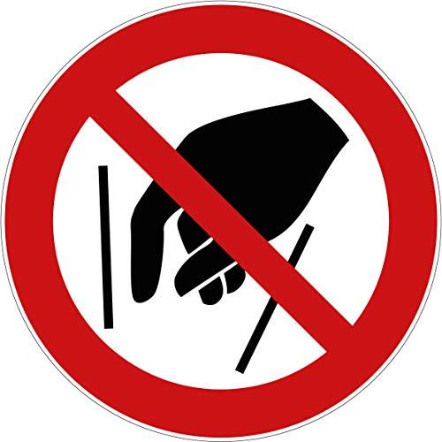 10 Aufkleber Hineinfassen verboten Aufkleber (10 Stück) 95 mm vorgestanzt für Innen & Außen mit UV-Lack, witterungsbeständig, selbstklebend Hineinfassen Verbotszeichen Arbeitssicherheit