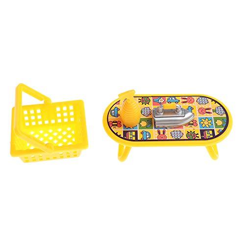RUIYELE Juego de accesorios para casa de muñecas 1:6 o 1:12, limpieza en seco, lavadora, lavandería y limpieza, accesorios de muebles, decoración de casa de muñecas, juego de 4 cestas de hierro