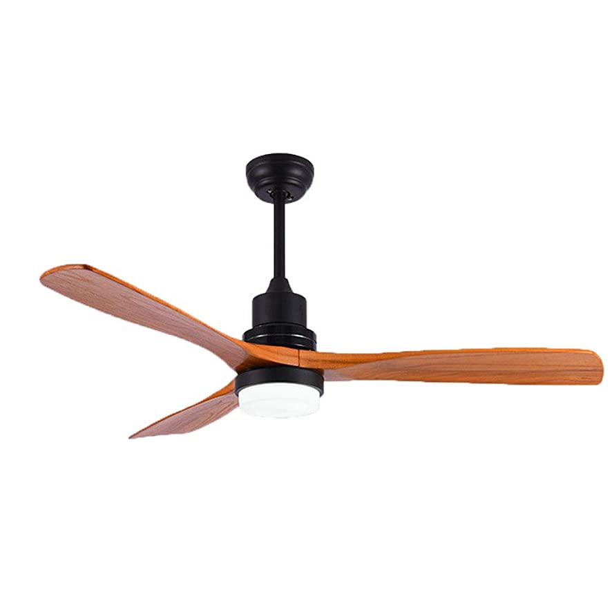 BDenise 52 Inch Ceiling Fan with Light 3 Soild Wood Fan Blades Remote Control Modern LED Chandelier Lamp (Silent,3-Speed)