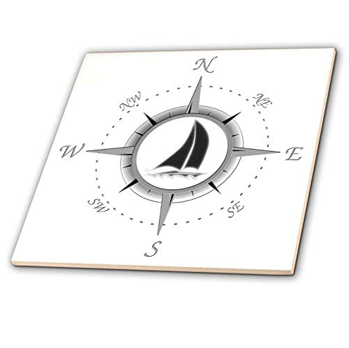 3dRose Nautical Compass Rose Design with a Sailboat in The Center. -Ceramic Tile, 4-inch (ct_291857_1)