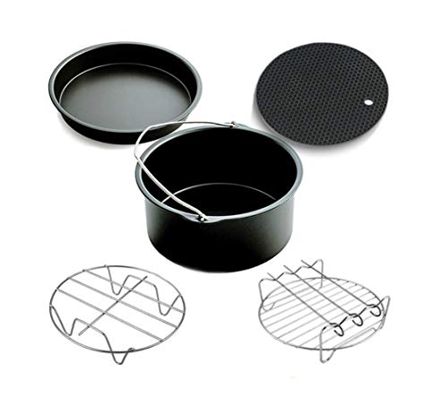 ABTP 5 PCs Air Fryer Accessories for Phillips Air Fryer & Gowise Air Fryer Fit all Dishwasher Safe for Cake Pizza Rack Steamer Silicone Mat Black