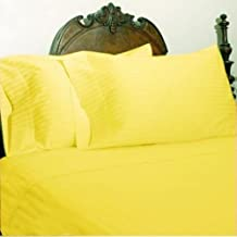 Fab Furnish 1000-Thread-Count Egyptian Cotton 6pc Bed Sheet Set, Queen,Yellow Stripe