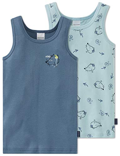 Schiesser Jungen Multipack 2pack Hemd 0/0 Unterhemd, Mehrfarbig (Blau), 116 (2er Pack)