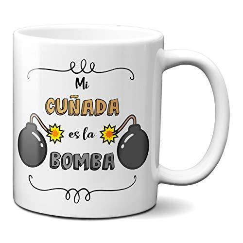 Planetacase Taza para cuñados - Mi cuñada es la Bomba - Regalo Original Familia Ceramica 330 mL