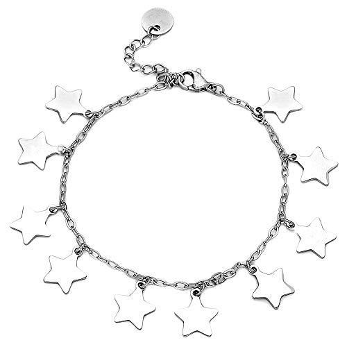 Beloved Bracciale da donna in acciaio essecial con stelle o cuori vari colori - braccialetto con misura regolabile con charm e ciondoli pendenti (Stelle silver)