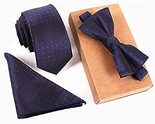 Men's Neckties + Handkerchief + Bow Tie Set Pocket Square Towel Bowtie Wedding/Design: 3