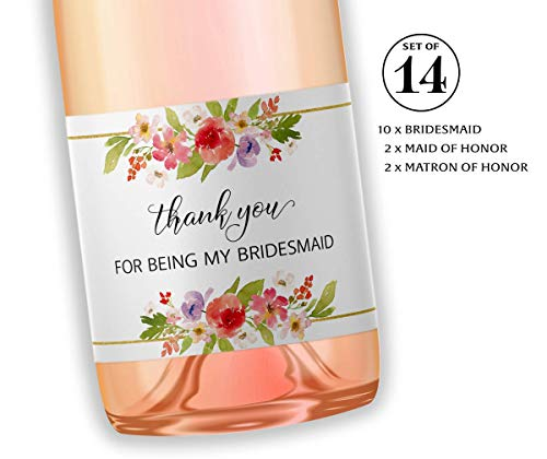● SET of 14 ● Thank You For Being My Bridesmaid Mini Champagne Labels, Maid of Honor, Matron of Honor Gifts - Bridesmaid THANK YOUs, Bridal Party Bubbly Tote Gift Ideas, Wedding Favors, M905-THANK-14