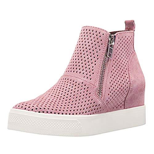 Minetom Zapatillas De Deporte De Cuña para Mujer Hueco Plataforma Mocasines Loafers con Cremallera Respirable Antideslizante Botas Cortas Sneakers