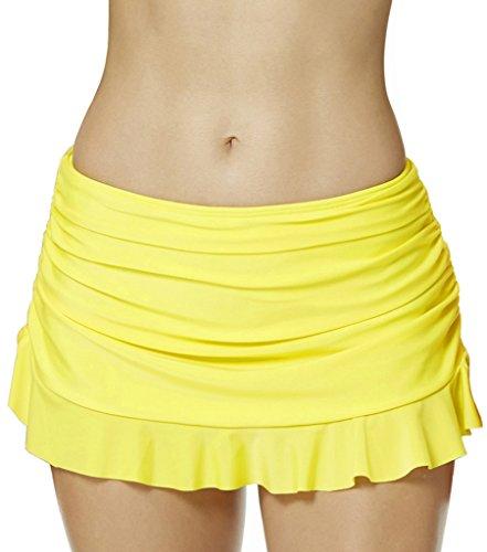 Ecute Damen Strand Rock mit Integrierter Hose Schwimm Bikinirock Bader,gelb, Grösse 18