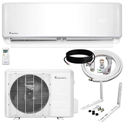 Klimaire 9,000 BTU KSIV 19 SEER Ductless Mini-Split Inverter Air Conditioner Heat Pump System with 15-ft Installation Kit and Wall Bracket 115V