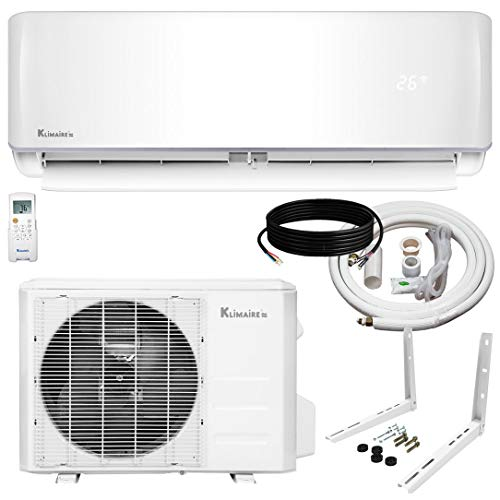 Klimaire 12,000 KSIV 19 SEER Ductless Mini-Split Inverter Air Conditioner Heat Pump System with 15-ft Installation Kit and Wall Bracket 208/230V