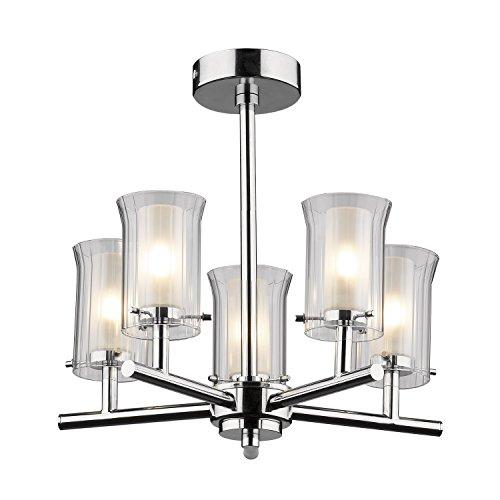 Dar - Lámpara de techo (5 brazos, 5 luces, 25 W, G9, cromo pulido, tulipas de cristal doble)