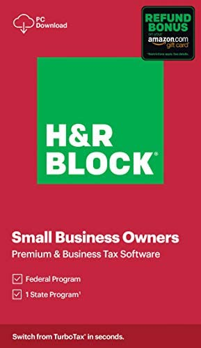 H R Block Tax Software Premium Business 2020 with Refund Bonus Offer Amazon Exclusive PC Download product image