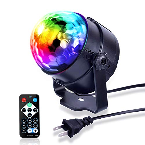 Disco Lights Sound Activated Party Lights with Remote Control Dj Lighting RBG Disco Ball, Strobe Lamp 7 Modes Stage Light for Family Parties KTV bar Christmas Halloween DJ Wedding Stage Decoration