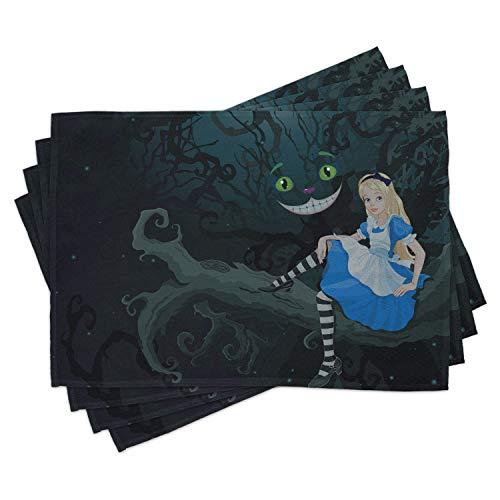 ABAKUHAUS Alice au Pays des Merveilles Lot de Sets de Table en 4 pièces, Conte de fées pour Enfants, Tissu Lavable pour Salle à Manger et Cuisine, 30 cm x 45 cm, Multicolore