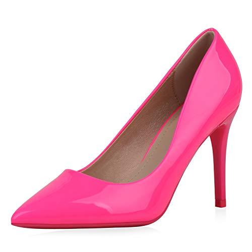 SCARPE VITA Damen Spitze Pumps High Heels Stiletto Lack Schuhe Party Absatzschuhe Elegante Abendschuhe 188071 Neon Pink 36